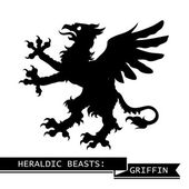 Black Heraldic Griffin — Stock Vector