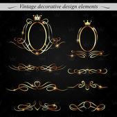 Golden decorative design elements. Vector. — Stock Vector