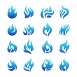 Collection of blue fire icons — Stock Vector