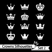 Crown collection - vector silhouette — Stock Vector