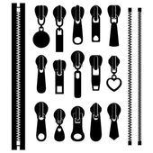 Set of different zippers — Stock Vector