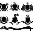 Set of heraldic black emblems — Stock Vector