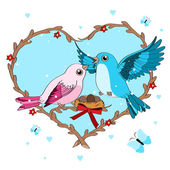 Illustration of Love Birds — Stock Vector