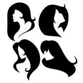 Vektor-reihe von weiblichen cameo silhouetten — Stockvektor