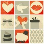 Happy valentines day and weeding retro set — Stock Vector