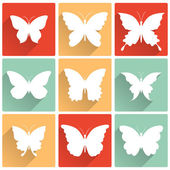 Vector isolated butterflies icons set — Stock Vector