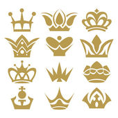 Crown collection (crown set, silhouette crown set) — Stock Vector