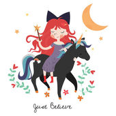 Whimsical girl on black unicorn — Stock Vector