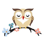 Cartoon owl on a flowering tree branch — Stock Vector