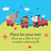 Cartoon train with animals — Stock Vector