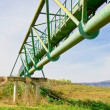 Metal bridge across a valley (from below) — Stock Photo