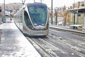 City train on the stop in Jerusalem — Stock Photo