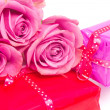 Valentine gifts and roses — Stock Photo