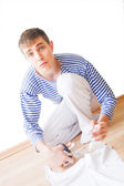 Alerted young man — Stock Photo