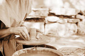 Making pottery (sepia toning) — Stock Photo