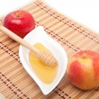 Stock Photo: Two apples and honey