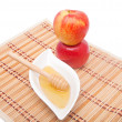 Tower of apples and honey — Stock Photo