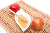 Two apples and honey — Stock Photo
