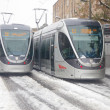 Light rail jammed in the snow — Stock Photo