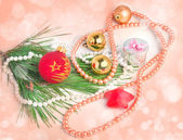 Peach color blurred Christmas background — Stock Photo