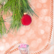 Red ball and necklace New year picture — Stock Photo