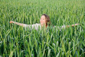 Green spring field — Stock Photo