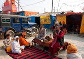 Meeting of the gurus on the festival Kumbh Mela — Stock Photo