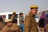 Indian police officers guard the festival Kumbh Mela — Stock Photo