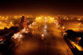 Night street in the camp town near the confluence of the Ganges and the Yamuna — Stock Photo