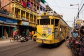 Traditional tram downtown Kolkata at the bright day — Stock Photo