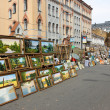 Stock Photo: Art Fair with paintings outdoor