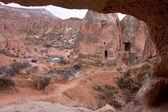 Caves inside the chimneys in Cappadocia — Stock Photo