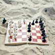 Chessboard with figures on it on the sand — Стоковая фотография