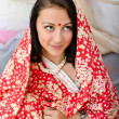 Young Indian girl in traditional red clothing - Stockfoto