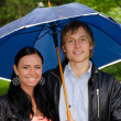 Portrait of young couple under umbrella in the park — Stock Photo #12704612