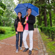 Young couple walking in the park under umbrella — Stock Photo