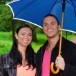 Portrait of young couple under umbrella in the park — Stock Photo #12704623