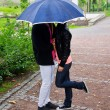 Stockfoto: Young couple kissing in the park under umbrella