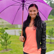 Young pretty woman walking in the park under umbrella — Stock Photo