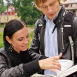 Two students studying outdoors — Stockfoto