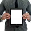 Man showing touch screen tablet pc with blank screen. Isolated on white — Stock Photo