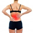 Rear view of young woman with spinal pain. Isolated on white — Stock Photo