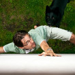 Royalty-Free Stock Photo: Thief running away from the dog.
