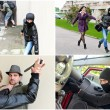 Story of different robberies. Collage made of four pictures — Stock Photo