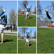 Break-dancer showing his skills. Collage of four photos. — Stock Photo #14876777