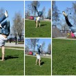 Break-dancer showing his skills. Collage of four photos. — Stock Photo