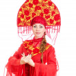 Stock Photo: Womin russitraditional clothes. Isolated on white.