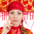 Woman in russian traditional clothes. Isolated on white. — Stock Photo