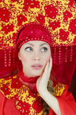 Woman in russian traditional clothes. — Stock Photo