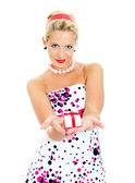 Pin-up portrait of woman with a gift. Isolated on white. — Stock Photo